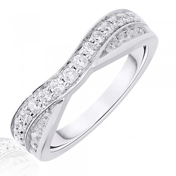 Platinum .50ct Brilliant & Baguette Diamond Overlap Ring
