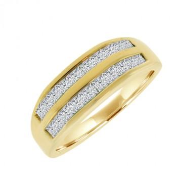 18ct Gold Double Row Princess cut Diamond Eternity Ring