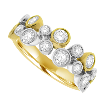 18ct Three-Tone Gold Diamond Scatterset Eternity Ring