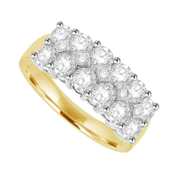 18ct Gold 17 Diamond Double Row Cluster Eternity Ring