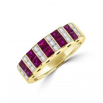 18ct Gold Three-Row Ruby & Diamond Eternity Ring