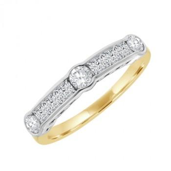 18ct Gold 9-stone Diamond Brilliant & Princess Eternity ring