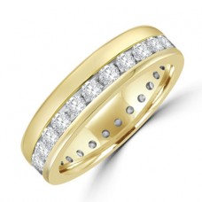 18ct Gold Diamond Offset Full Hoop Eternity Ring