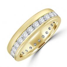 18ct Gold Diamond Offset Full Hoop Eternity Ring