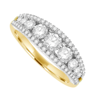 18ct Gold 3-Row Diamond Graduated Eternity Ring