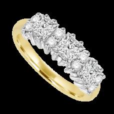 18ct Gold 11-stone Princess cut Diamond Cluster Eternity Ring