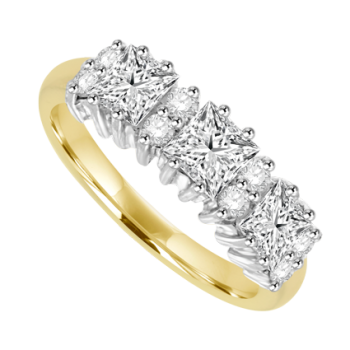 18ct Gold 11-stone Princess cut Diamond Cluster Eternity Ring