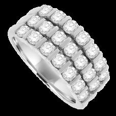 18ct White Gold Diamond 3-row Eternity Ring
