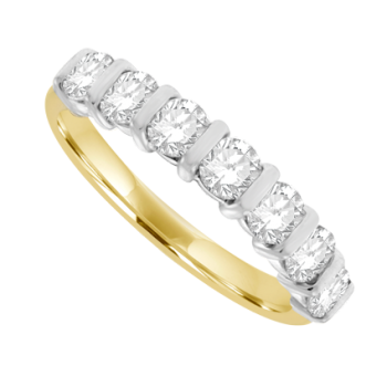 18ct Gold 7-stone Diamond Bar Set Eternity Ring