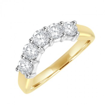 18ct Gold 5-Stone Diamond Bow Shaped Eternity Ring