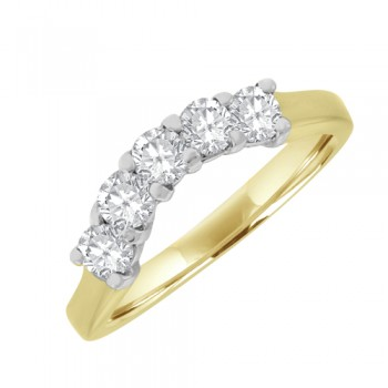 18ct  5stone Diamond Eternity Style Ring - Bow Shaped