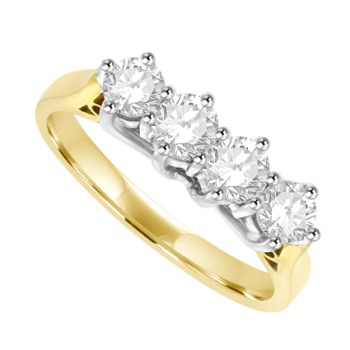 18ct Gold 4-stone Diamond 6-Claw Eternity Ring