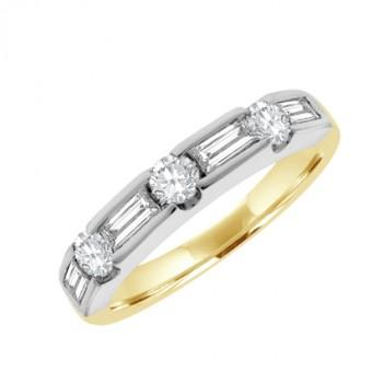 18ct Gold 7-stone Brilliant & Baguette Diamond Eternity Ring