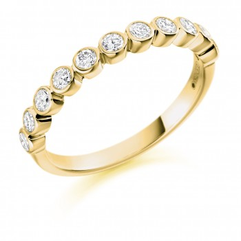 18ct Gold 11-stone Rubover Eternity Ring