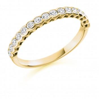 18ct Gold 16-stone Rubover Diamond Eternity Ring