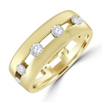 18ct Gold 10-stone Diamond Full Hoop split Eternity Ring