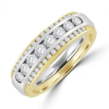 18ct Gold Two-tone Diamond Triple row Eternity Ring