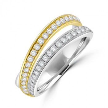 18ct Two Tone Gold 2 Row Split Diamond Ring