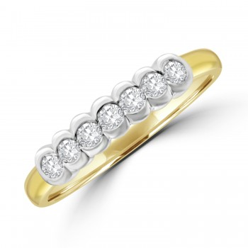 18ct Gold 7-stone Diamond Rubover Eternity Ring