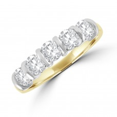 18ct Gold 5-stone Diamond Bar Set Eternity Ring