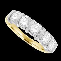 18ct Gold 5-stone 1.70ct Diamond Bar Set Eternity Ring