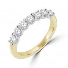 18ct Gold & Platinum 7-stone Diamond V-shape Claw Eternity Ring