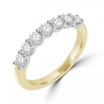 18ct Gold & Platinum 7-stone Diamond V-shape Claw Eternity Ring