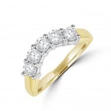 18ct Gold 5-stone .91ct Diamond Bow-Shaped Eternity Ring