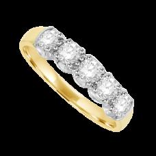 Gold 5-stone Diamond Eternity Ring