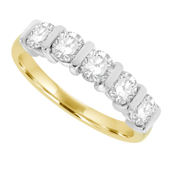 18ct Gold 5-stone 1.21ct Diamond Bar Set Eternity Ring