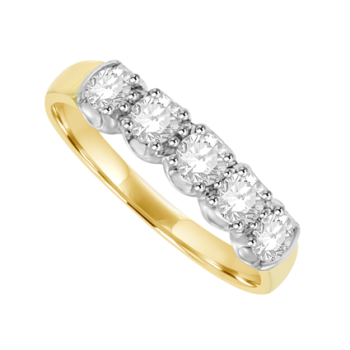 18ct Gold 5-stone .77ct Diamond Loopy Claw Eternity Ring