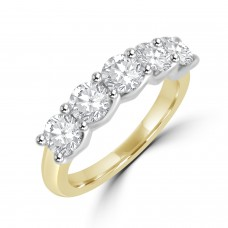 18ct Gold and Platinum 5-Diamond 1.50ct V-Claw Eternity Ring