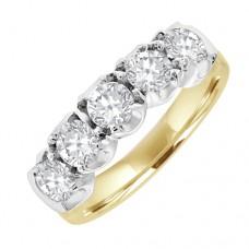 18ct Gold 5-stone Diamond Loopy Eternity Ring
