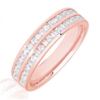 18ct Rose Gold Baguette & Brilliant Diamond Double Row Eternity