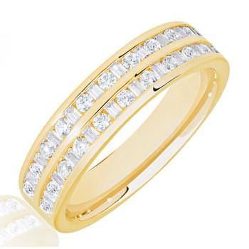 18ct Gold Baguette & Brilliant cut Diamond Double Row Eternity