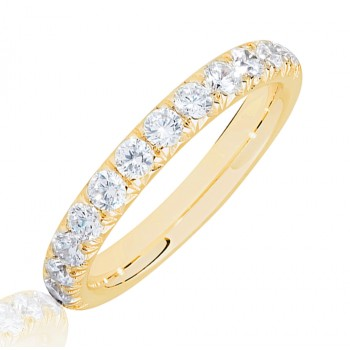 18ct Gold .75ct Diamond French Pave Eternity Ring