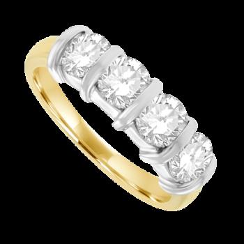 18ct Gold 4-stone 1.50ct Diamond Bar Set Eternity Ring