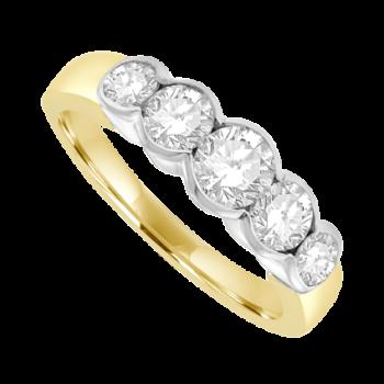 18ct Gold 5-stone 1.20ct Diamond Rubover Eternity Ring