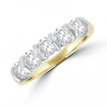 18ct Gold 5-stone 1.05ct Diamond Bar set Eternity Ring