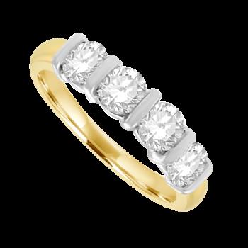 18ct Gold 4-stone 1.00ct Diamond Bar Set Eternity Ring