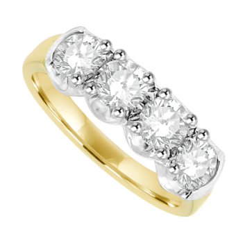 18ct Gold 4-stone 1.60ct Diamond Loopy Eternity Ring