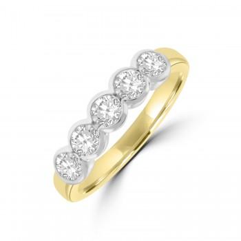 18ct Gold 5-stone .81ct Diamond Rubover Eternity Ring