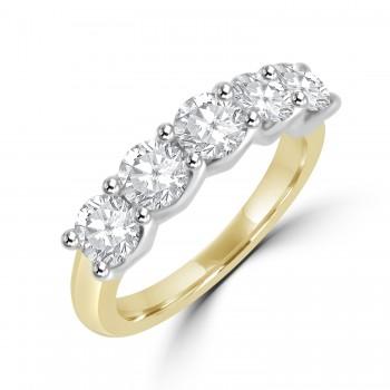18ct Gold & Platinum 5-stone .77ct Diamond V-Claw setting