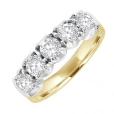 18ct Gold 5-stone 1.10ct Diamond Loopy Claw Eternity Ring
