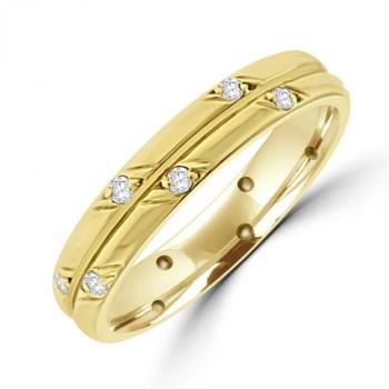 18ct Gold Diamond Full Patterned Wedding Ring