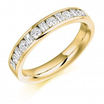 18ct Gold Baguette & Brilliant cut Diamond Eternity Ring