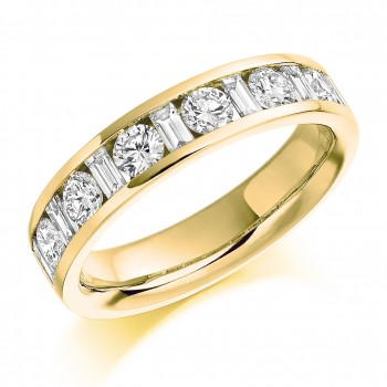 18ct Gold Brilliant & Baguette cut Diamond Eternity Ring