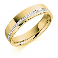 18ct Gold Baguette Diamond Offset Channel Wedding Ring