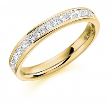 18ct Gold 15-stone Princess cut Diamond Eternity Ring