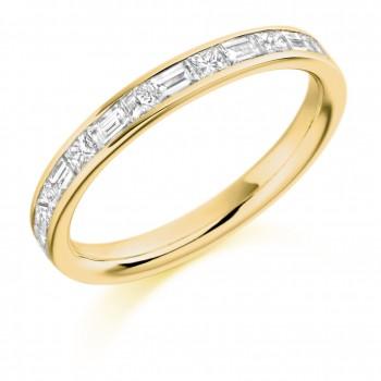 18ct Gold Princess cut & Baguette Diamond Eternity Ring